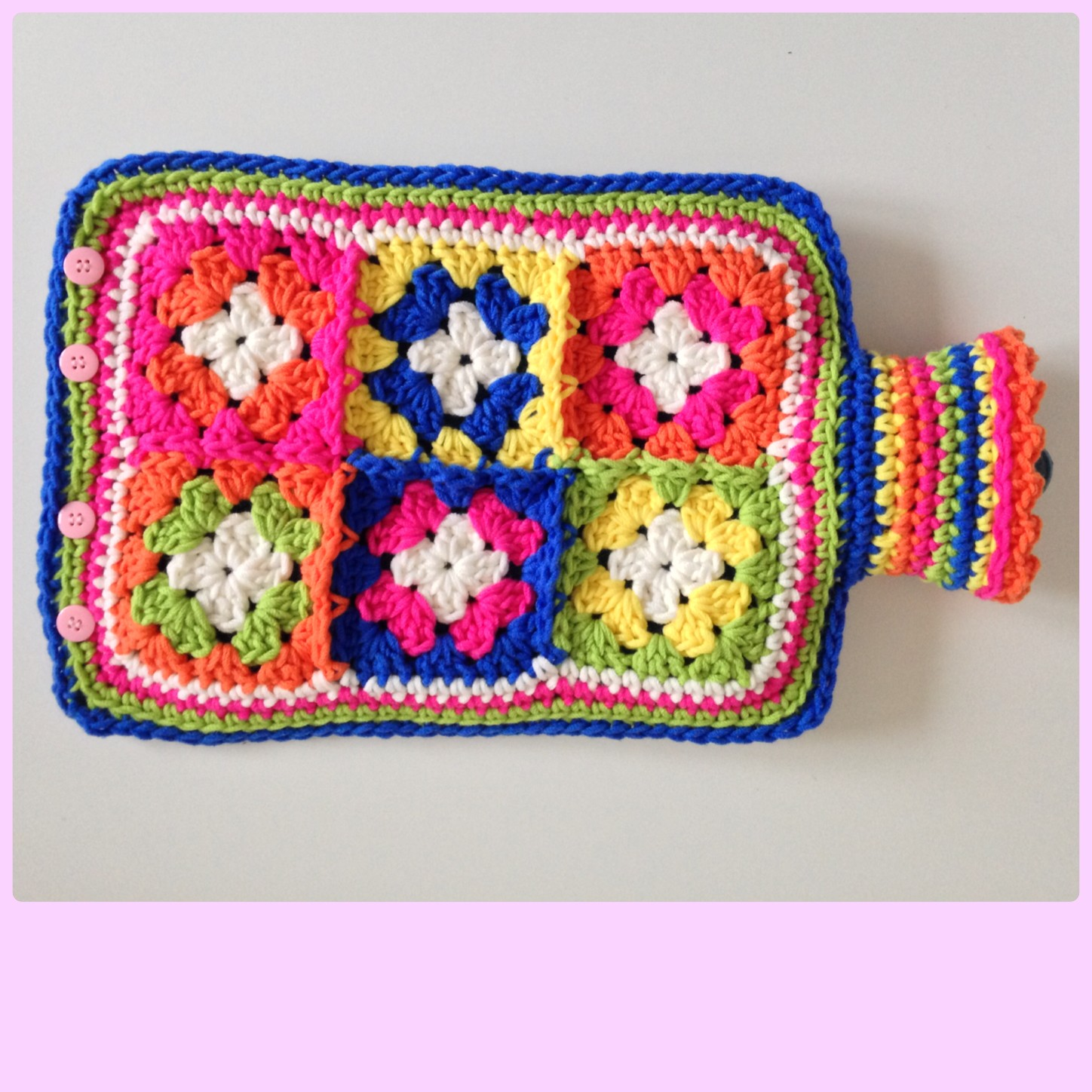 Crochet Granny Square Hot Water Bottle Cover Pattern : Hot water bottle cover maRRose ? Colorful Crochet & Crafts