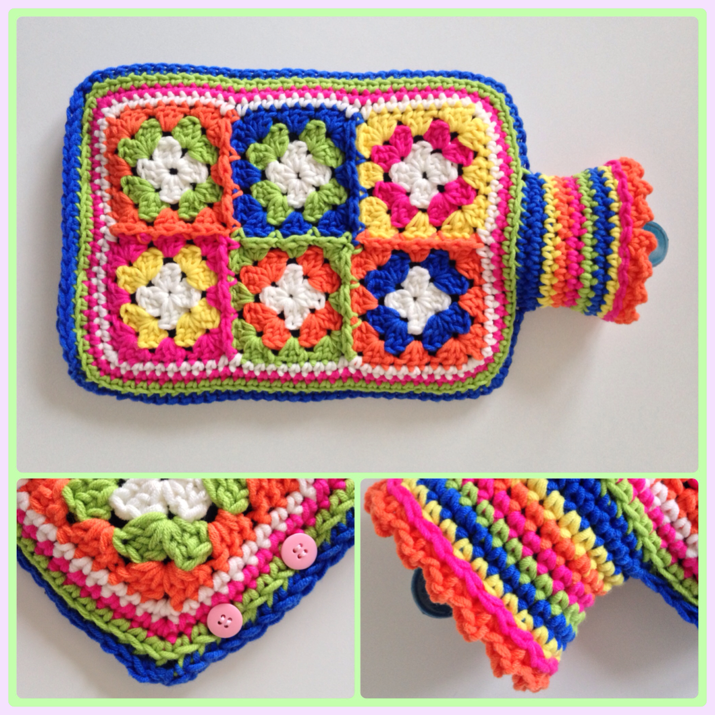 Free Crochet Patterns For Jug Covers : Hot water bottle cover maRRose ? Colorful Crochet & Crafts