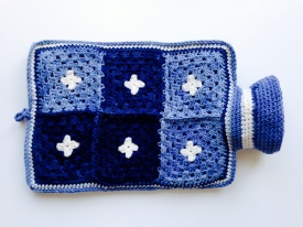 hot water bottle cover in blue