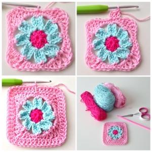 """maRRose - CCC: tutorial granny square """"Rose"""""""