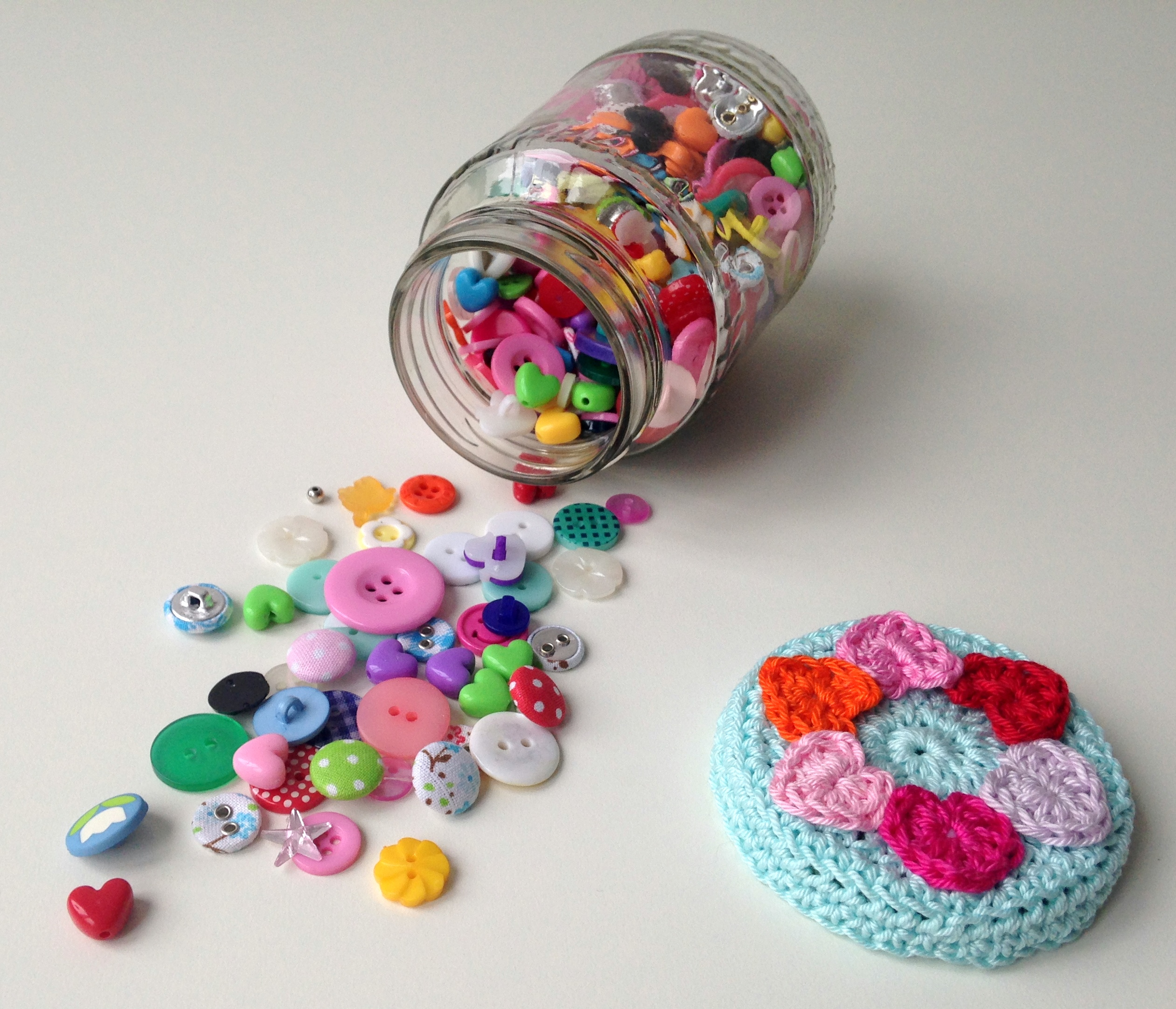 Crochet Patterns Jar Lids : Crocheted Jar Lid Covers maRRose - Colorful Crochet & Crafts