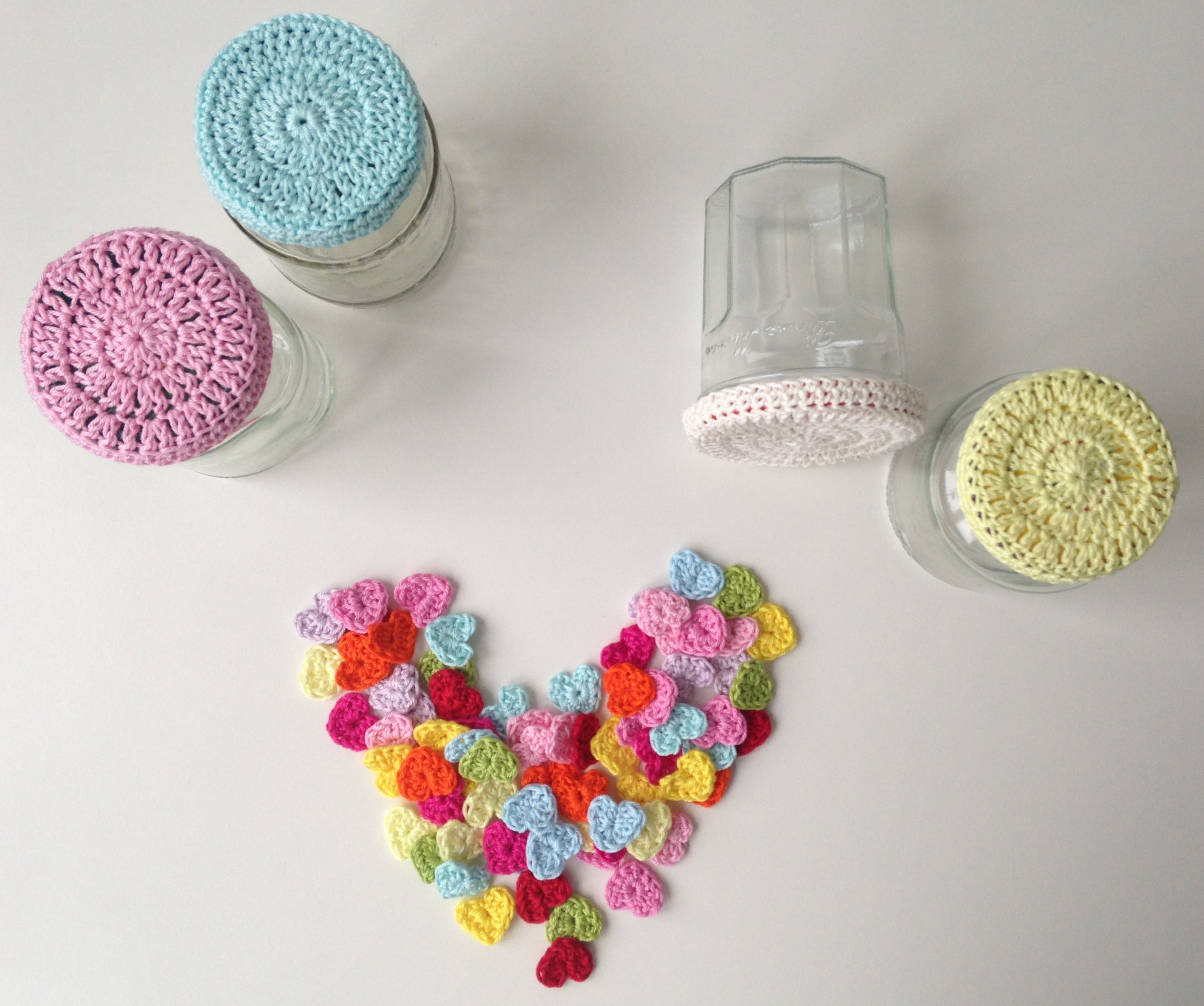 Crochet Patterns Jar Covers : Crocheted Jar Lid Covers maRRose - Colorful Crochet & Crafts