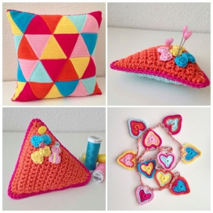 maRRose - CCC: Triangle Cushion in pink, orange, yellow, ice blue and bright blue