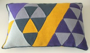 maRRose - CCC: Triangle Cushion in purple, mustard and greys