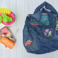 The Beach Bag - a recycled and pimped up bag from an old pair of jeans